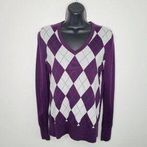 Tommy Hilfiger Purple Argyle Pullover Sweater